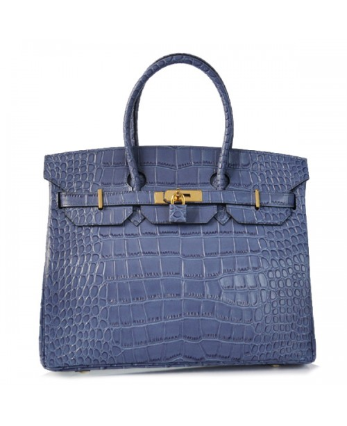 Replica Hermes 40cm Birkin Handbag Blue Croc with Gold Hardware-78952