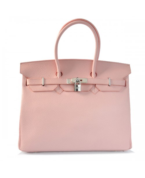 Replica Hermes 35cm Birkin Handbag Candy Collection Pink Togo Leather with Silver Hardware-78202