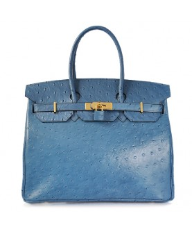 Replica Hermes 35cm Birkin Handbag Blue Ostrich with Gold Hardware-78320