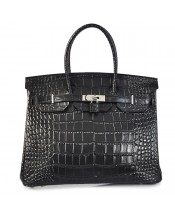 Replica Hermes 40cm Birkin Handbag Black Croc with Silver Hardware-78949