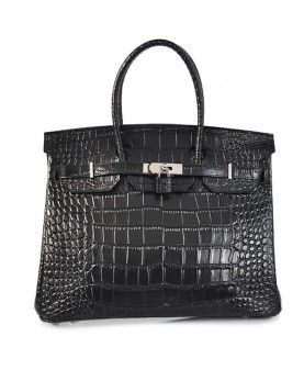 Replica Hermes 35cm Birkin Handbag Black Croc with Silver Hardware-78224
