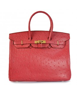 Replica Hermes 35cm Birkin Handbag Red Ostrich with Gold Hardware-78330