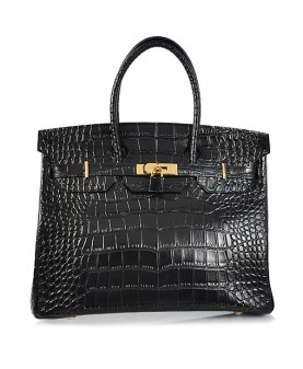 Replica Hermes 35cm Birkin Handbag Black Croc with Gold Hardware-78243