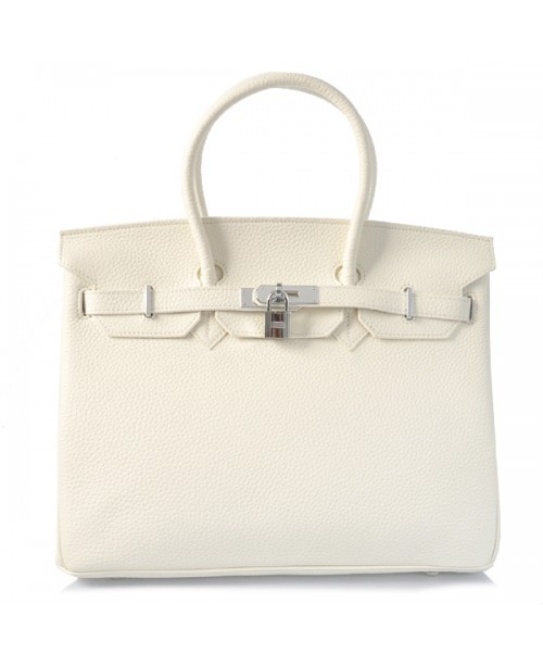 Replica Hermes 35cm Birkin Handbag White Togo Leather with Silver Hardware-78264