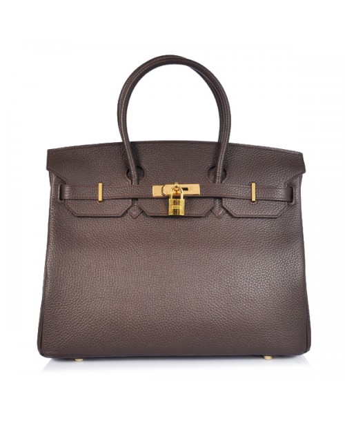 Replica Hermes 35cm Birkin Handbag Coffee Togo Leather Golden Metal-78312