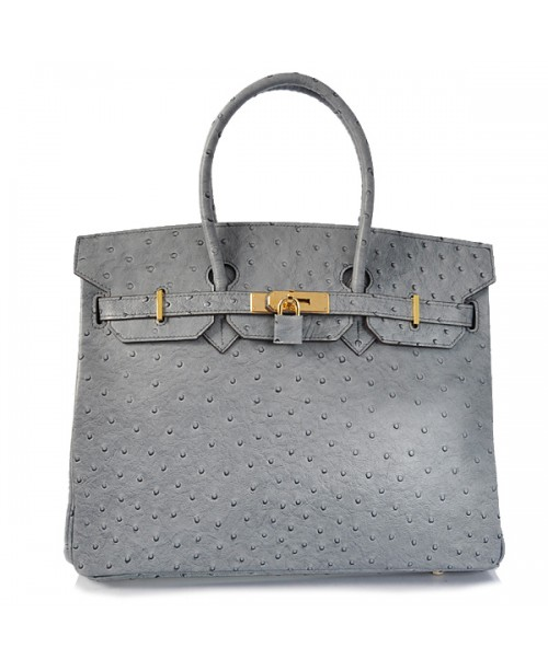 Replica Hermes 40cm Birkin Handbag Gray Ostrich with Gold Hardware-78970
