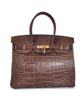 Replica Hermes 35cm Birkin Handbag Coffee Croc with Gold Hardware-78239