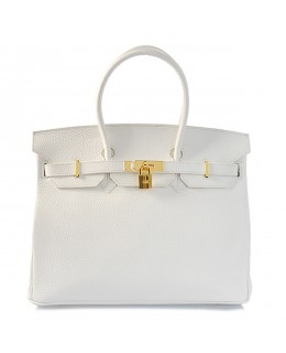 Replica Hermes 35cm Birkin Handbag White Togo Leather Golden Metal-78304