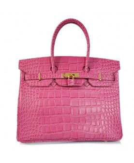Replica Hermes 35cm Birkin Handbag Pink Croc with Gold Hardware-78306