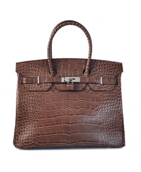 Replica Hermes 35cm Birkin Handbag Coffee Croc with Silver Hardware-78289
