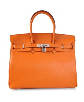 Replica Hermes 35cm Birkin Handbag Orange Togo Leather with Silver Hardware-78331