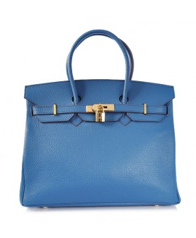 Replica Hermes 35cm Birkin Handbag Blue Togo Leather with Gold Hardware-78272
