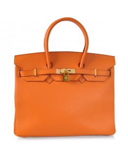 Replica Hermes 35cm Birkin Handbag Orange Togo Leather Golden Metal-78288