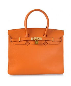 Replica Hermes 40cm Birkin Handbag Orange Togo Leather Golden Metal-78989