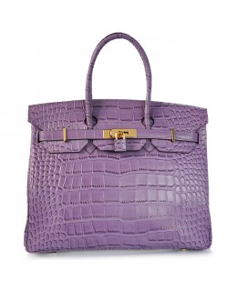 Replica Hermes 35cm Birkin Handbag Purple Croc with Gold Hardware-78281