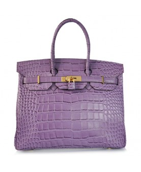 Replica Hermes 40cm Birkin Handbag Purple Croc with Gold Hardware-78984