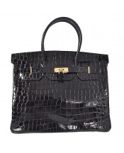 Replica Hermes 35cm Birkin Handbag Black Crocodile Porosus Leather with Golden Metal-78333