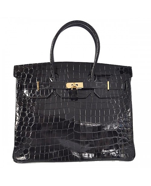 Replica Hermes 40cm Birkin Handbag Black Crocodile Porosus Leather with Golden Metal-79020