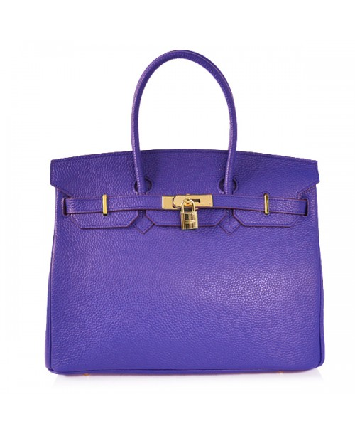 Replica Hermes 35cm Birkin Handbag Candy Collection Blue Togo Leather with Gold Hardware-78251