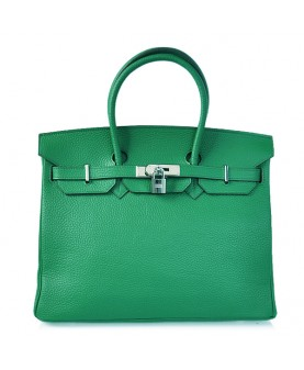 Replica Hermes 35cm Birkin Handbag Candy Collection Green Togo Leather with Silver Hardware-78249
