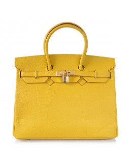 Replica Hermes 35cm Birkin Handbag Candy Collection Yellow Togo Leather with Gold Hardware-78215