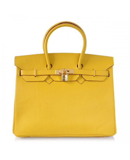 Replica Hermes 40cm Birkin Handbag Candy Collection Yellow Togo Leather with Gold Hardware-78944