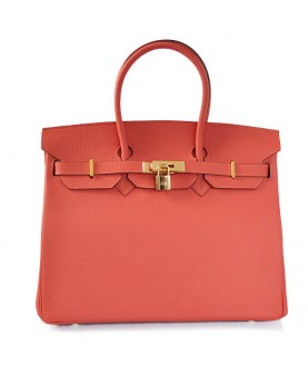 Replica Hermes 35cm Birkin Handbag Candy Collection Red Togo Leather with Gold Hardware-78332