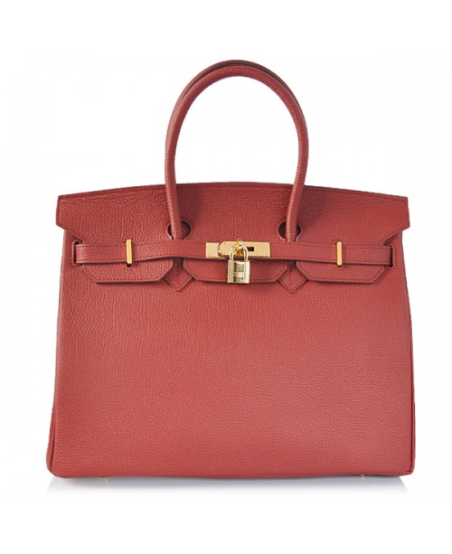Replica Hermes 35cm Birkin Handbag Dark Red Togo Leather with Gold Hardware-78277