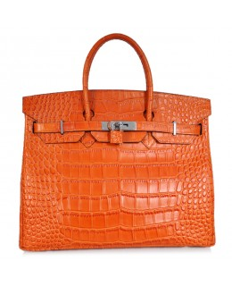 Replica Hermes 35cm Birkin Handbag Orange Croc with Silver Hardware-78278