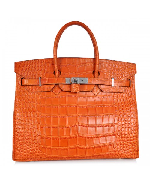 Replica Hermes 40cm Birkin Handbag Orange Croc with Silver Hardware-78981