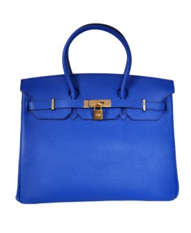 Replica Hermes 35cm Birkin Handbag Candy Collection Blue Togo Leather with Gold Hardware-78317