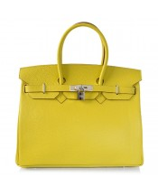 Replica Hermes 40cm Birkin Handbag Candy Collection Lemon Togo Leather with Silver Hardware-78939