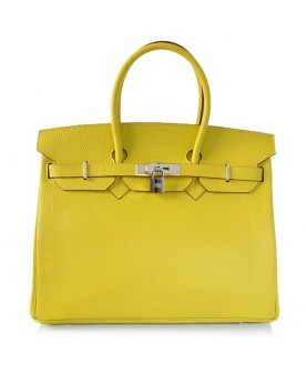 Replica Hermes 35cm Birkin Handbag Candy Collection Lemon Togo Leather with Silver Hardware-78204