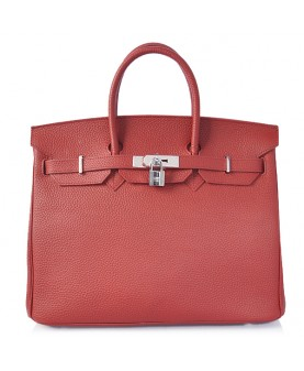Replica Hermes 35cm Birkin Handbag Dark Red Togo Leather with Silver Hardware-78223