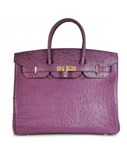Replica Hermes 35cm Birkin Handbag Purple Ostrich with Gold Hardware-78344