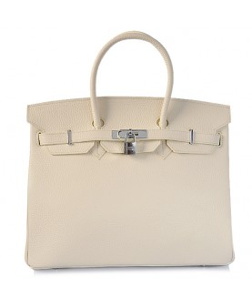 Replica Hermes 35cm Birkin Handbag Cream Togo Leather with Silver Hardware-78246