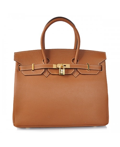 Replica Hermes 35cm Birkin Handbag Brown Togo Leather with Gold Hardware-78310