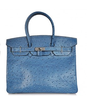 Replica Hermes 35cm Birkin Handbag Blue Ostrich with Silver Hardware-78235