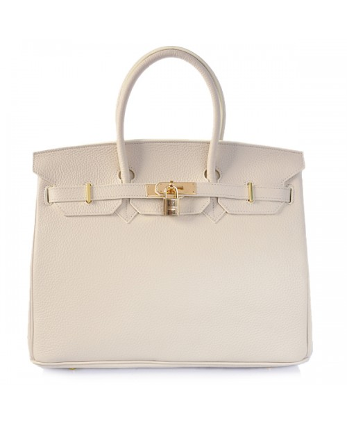 Replica Hermes 35cm Birkin Handbag Cream Togo Leather with Gold Hardware-78297