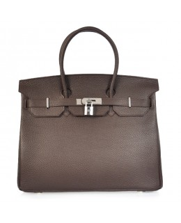 Replica Hermes 35cm Birkin Handbag Coffee Togo Leather with Silver Hardware-78285