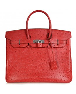 Replica Hermes 35cm Birkin Handbag Red Ostrich with Silver Hardware-78252