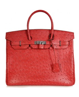 Replica Hermes 40cm Birkin Handbag Red Ostrich with Silver Hardware-78967