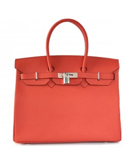 Replica Hermes 35cm Birkin Handbag Candy Collection Red Togo Leather with Silver Hardware-78935