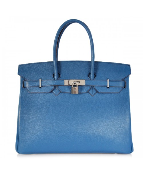 Replica Hermes 35cm Birkin Handbag Blue Togo Leather with Silver Hardware-78307