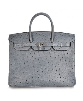 Replica Hermes 35cm Birkin Handbag Gray Ostrich with Silver Hardware-78280