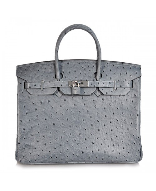 Replica Hermes 40cm Birkin Handbag Gray Ostrich with Silver Hardware-78983