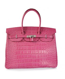 Replica Hermes 35cm Birkin Handbag Candy Collection Plum Red Croc with Silver Hardware-78203