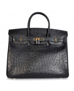 Replica Hermes 40cm Birkin Handbag Black Ostrich with Gold Hardware-78998