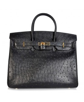 Replica Hermes 35cm Birkin Handbag Black Ostrich with Gold Hardware-78301