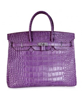 Replica Hermes 40cm Birkin Handbag Purple Croc with Silver Hardware-78992